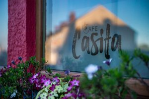 Cafe Casita Logo Decal on the window